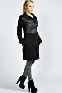 Roxie Wool Mix 2 In 1 Biker Coat at boohoo.com