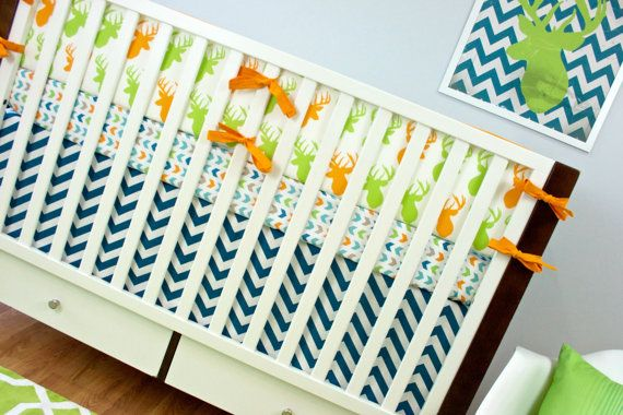Crib Bedding Baby Deer Blue Green Orange Set Outdoor Nursery On Etsy 40 00