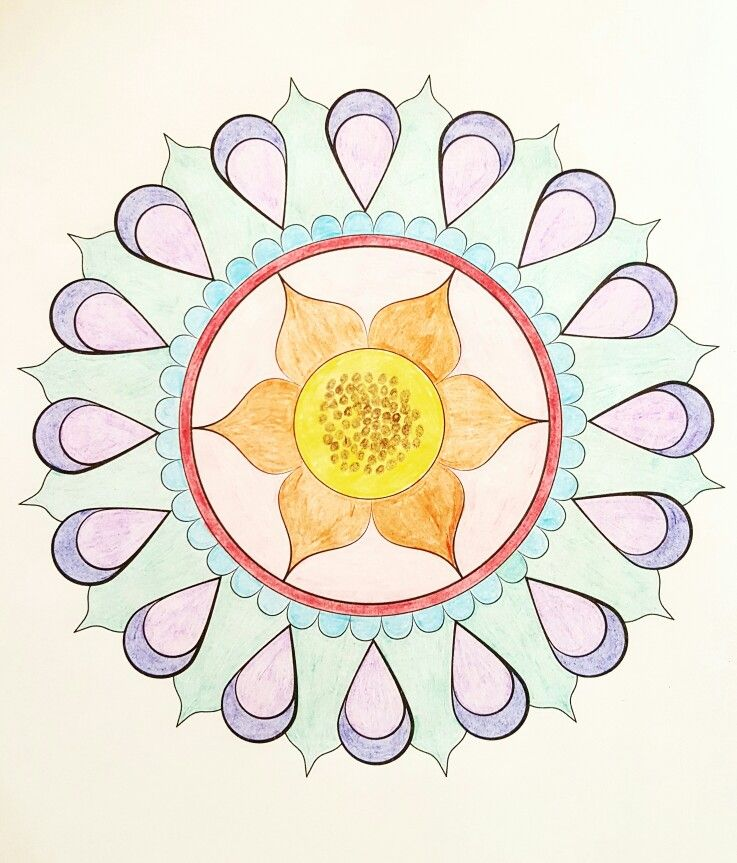 Sunflower Mandala From Nature Mandalas By Thaneeya McArdle Colored With Cra Z Art Pencils