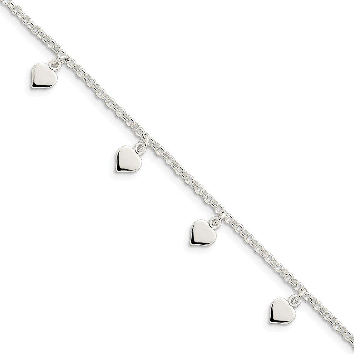Solid 925 Sterling Silver Polished Hearts Anklet 10