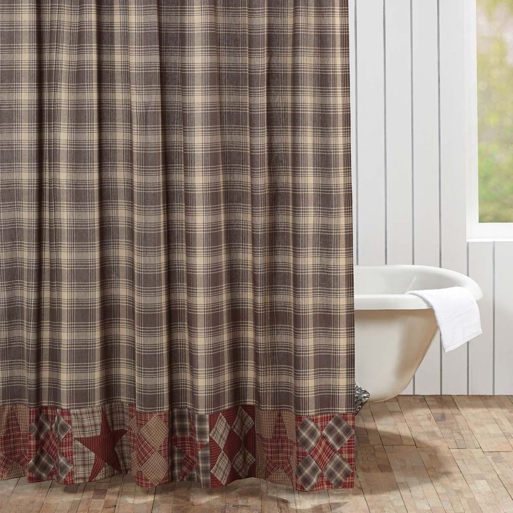 Red And Tan Fabric Shower Curtain