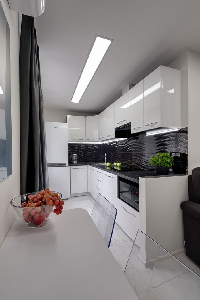 черно-белая кухня в современном стиле   Черно-белые кухни ...
