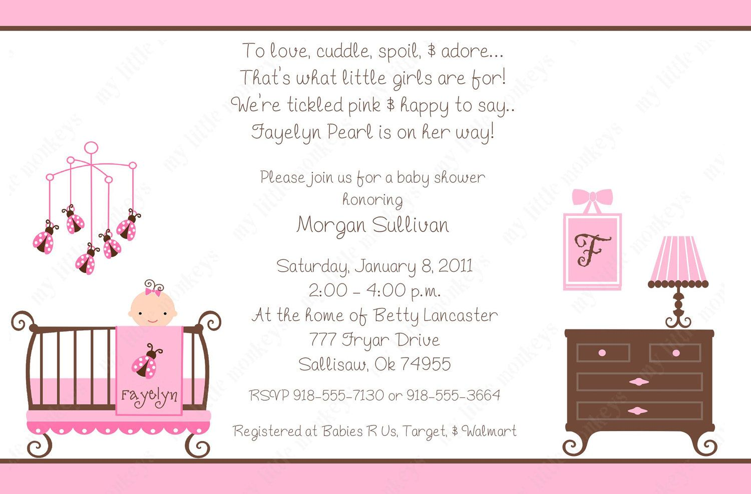 Dorable Girl Baby Shower Invite Elaboration Invitation Card