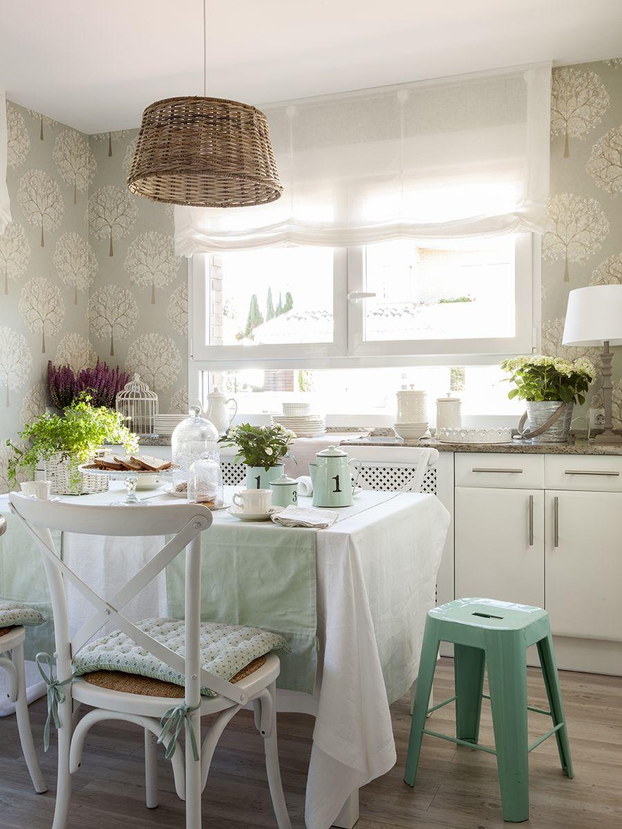 Papel pintado en la cocina en 2019 dinning room comedores kitchen dining room y cottage - Papel pintado para cocinas modernas ...