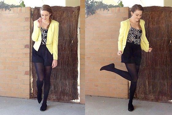 Yellow Blazer, Bardot Top, Portmans Shorts, Target Black Flats