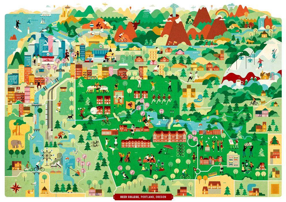 Vesa Sammalisto   Map of Reed college, Portland Oregon | mapSCAPE