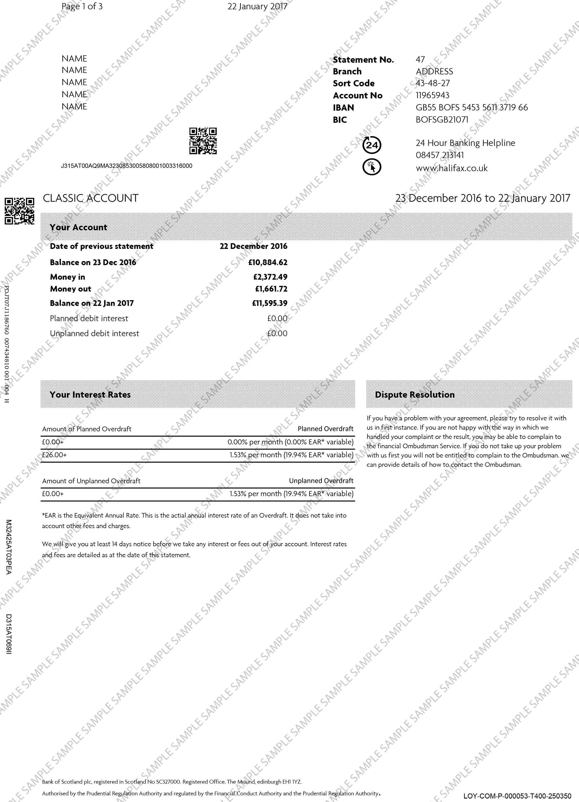 Bank Of Scotland Bank Statement With Images Bank Statement