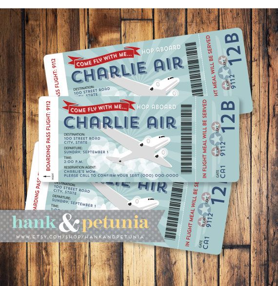 Airplane Birthday Invitation Boarding Pass and Digital Airmail - airplane ticket template
