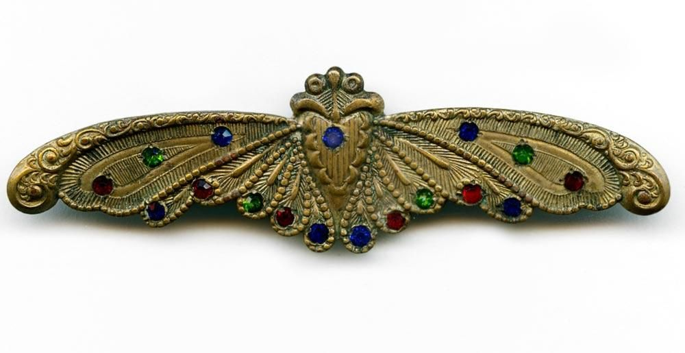 Edwardian fancy brass moth brooch with colored rhinestones