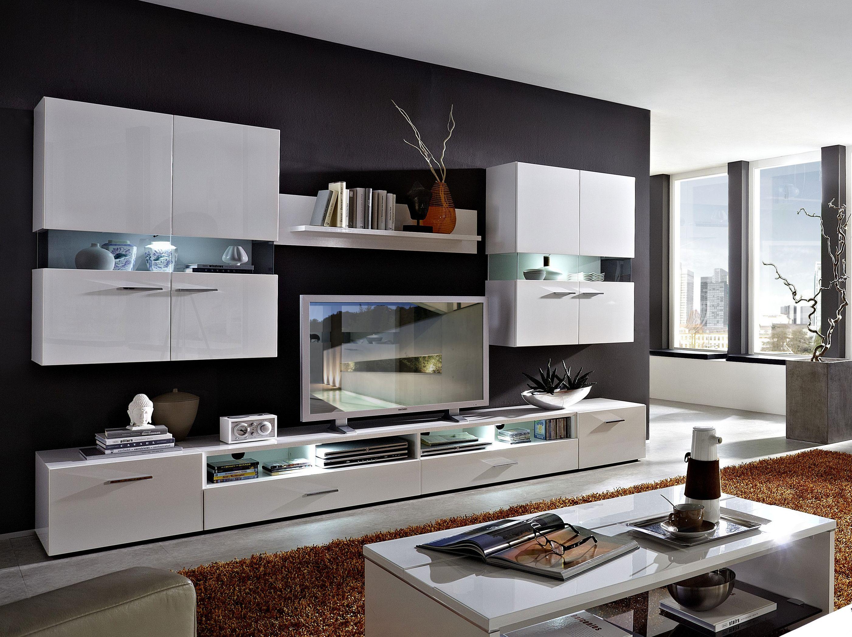 Modern Wohnwand Hochglanz Weiß