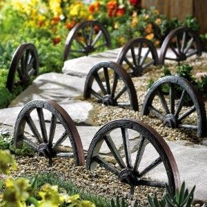 4 Piece Wagon Wheel Patio And Yard Border Set