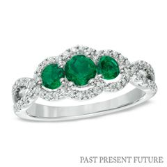 Lab-Created Emerald and 1/4 CT. T.W. Past Present Future® Ring in 10K White Gold