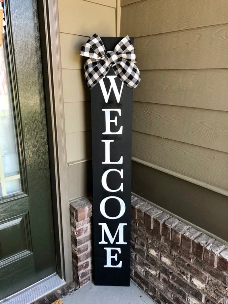 Black Welcome Sign With Bow Porch Welcome Sign Vertical Etsy In 2020 Porch Welcome Sign Welcome Signs Front Door Porch Signs