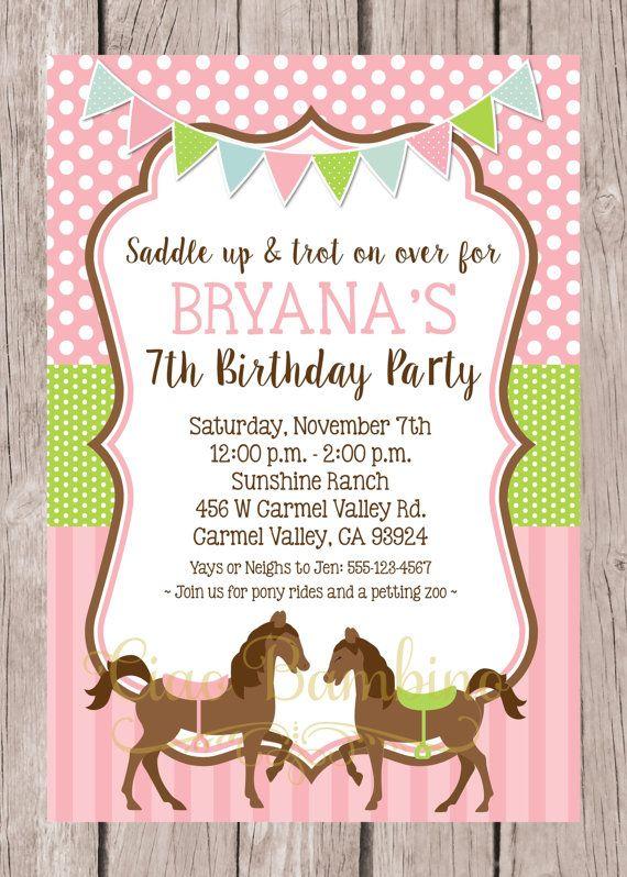 PRINTABLE Horse Birthday Party Invitation Pony by ciaobambino