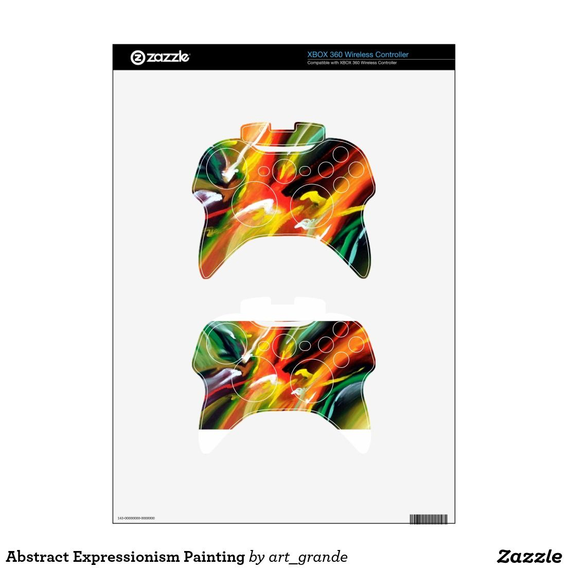 Xbox 360 wireless controller skin xbox 360 controller skins zazzle - Abstract Expressionism Painting Xbox 360 Controller Skin