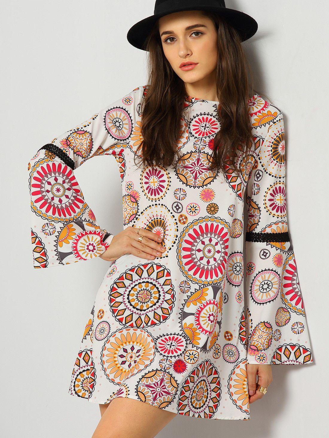 Multicolor long sleeve backless vintage print dress clothing