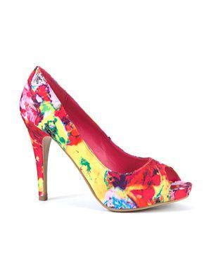Pink Pattern (Pink) Floral Peep Toe Heels | 252752379 | New Look ...