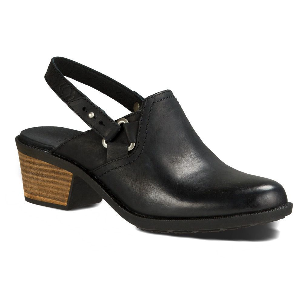 Teva Women'S Foxy Clog Leather Pigskin-Covered Slip On Shoes Black 1013674