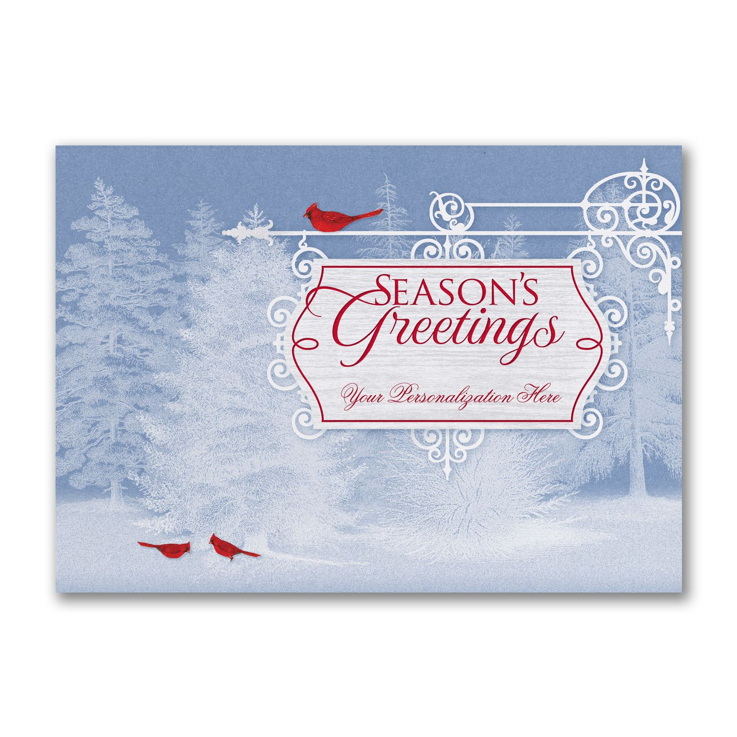 Beautiful scenery holiday cards httppartyblockinvitations a card with snowy pine trees and red cardinals make a beautiful scene while your personalization is showcased on a seasons greetings plaque monicamarmolfo Choice Image