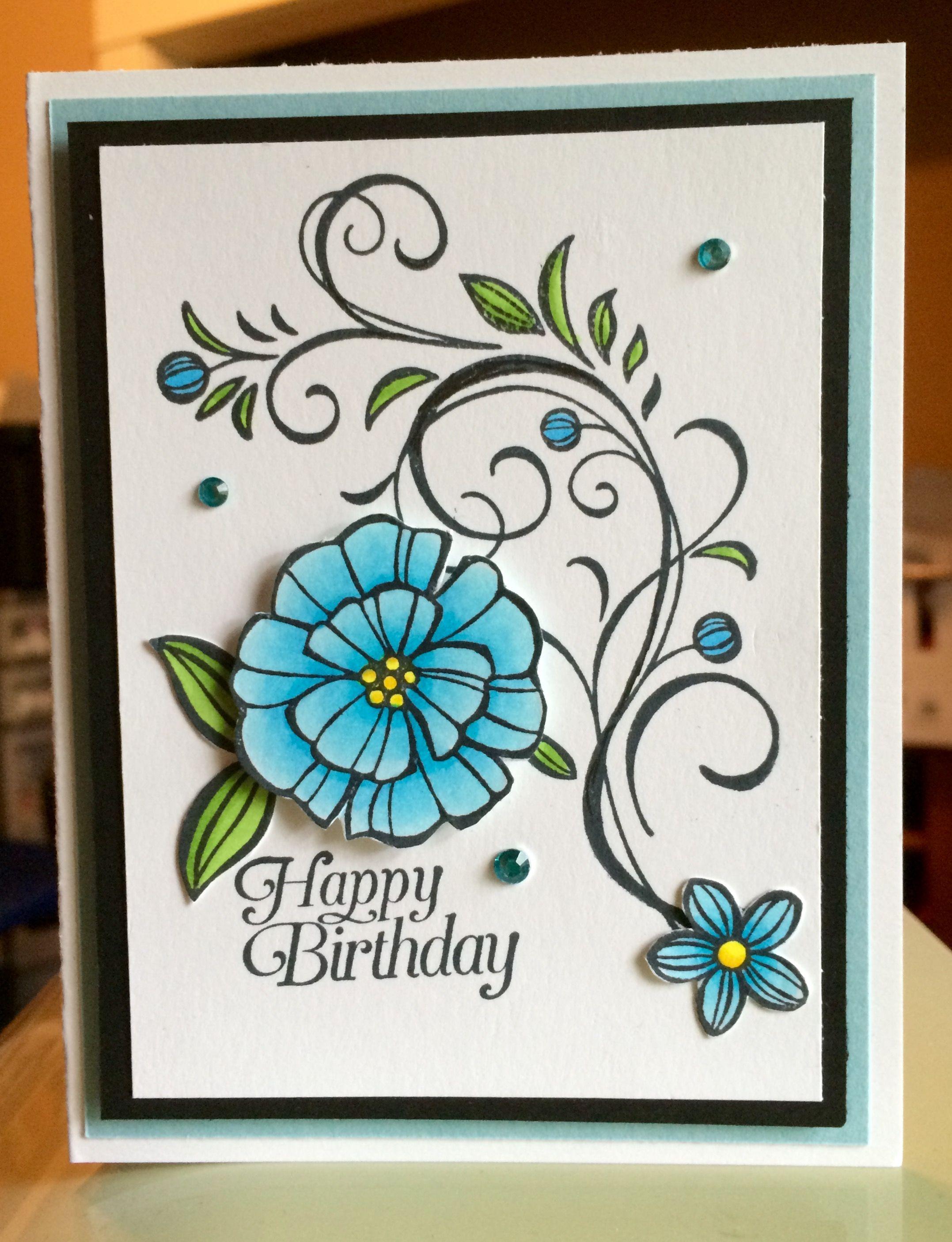 синие цветы для открытки своими руками белого