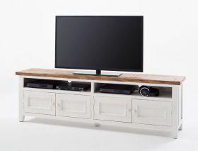 Lowboard 196x60x42 Cm Kiefer Weiß Tv-board Schrank Tv-möbel Used ...