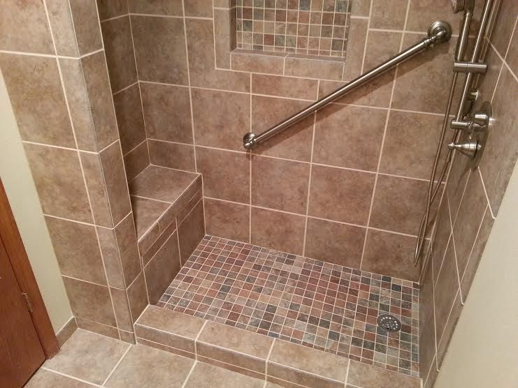 5 Foot Tile Shower With Seat Brawn Construction Shower Tile