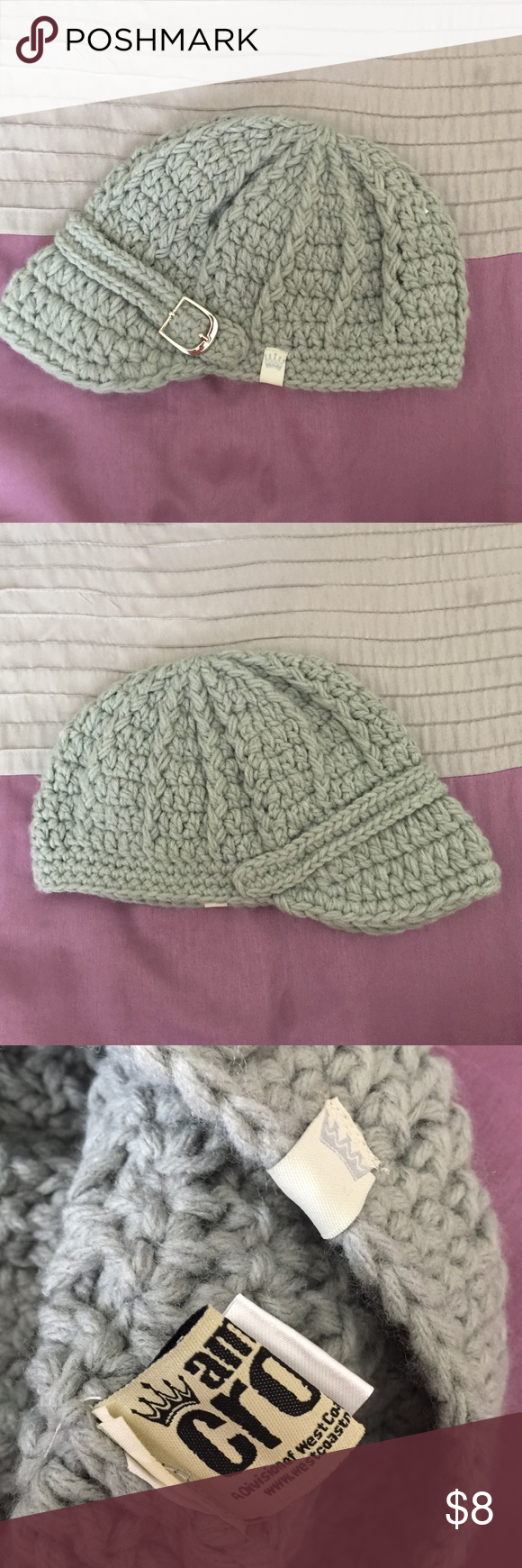 American Crown Crochet Hat Super trendy light grey crochet hat. Has silver buckler on faux strap. One size. So cute! American Crown Accessories Hats #crownscrocheted