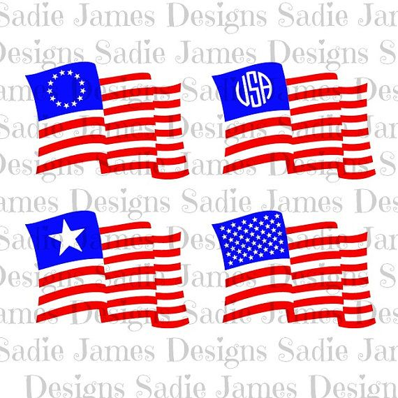4th of July American flags SVG, cricut & silhouette cutting file.