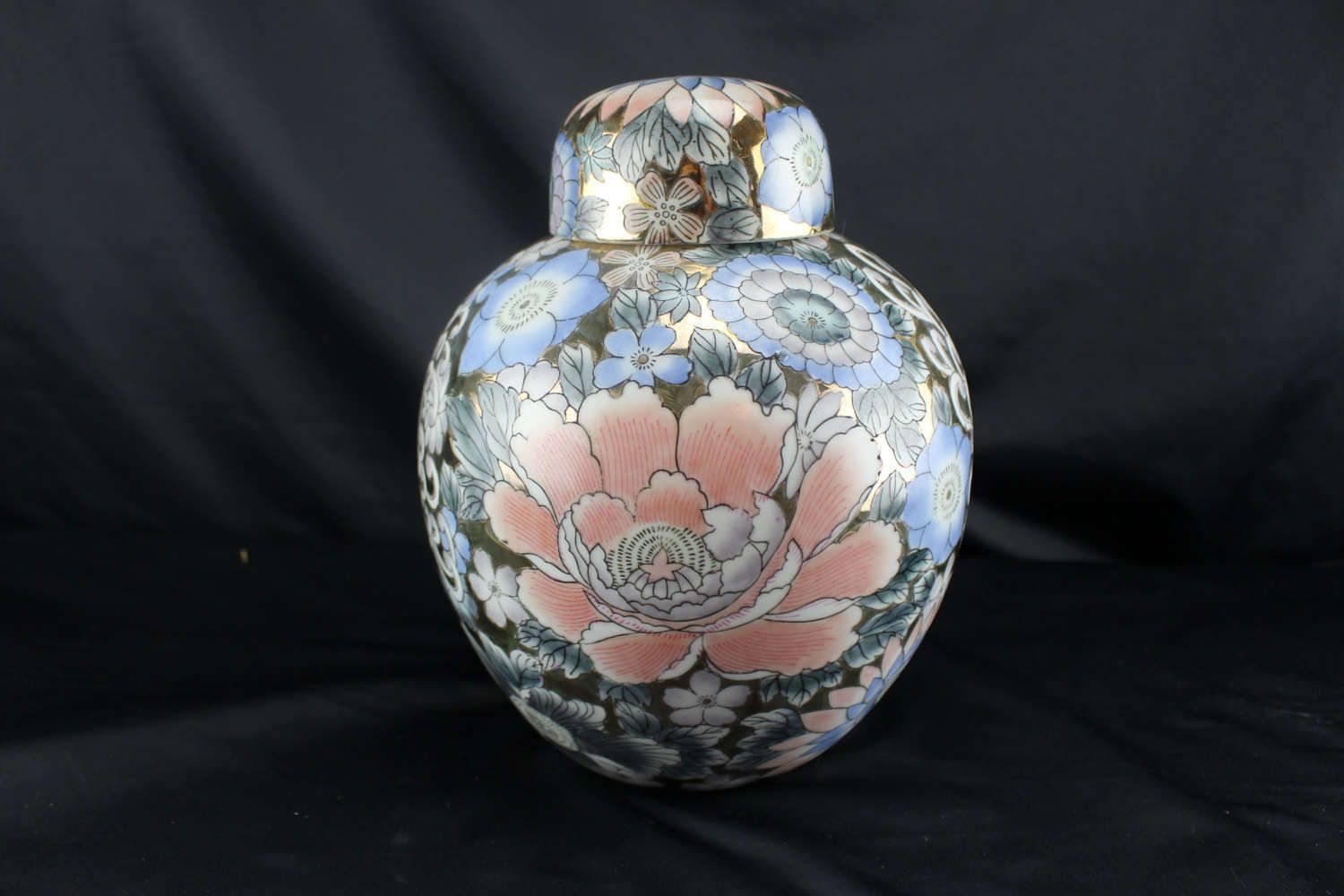 """Vintage Chinese Ginger Pot Gold Background Pink and Blue Flowers 10"""" by BCScollectibles on Etsy"""