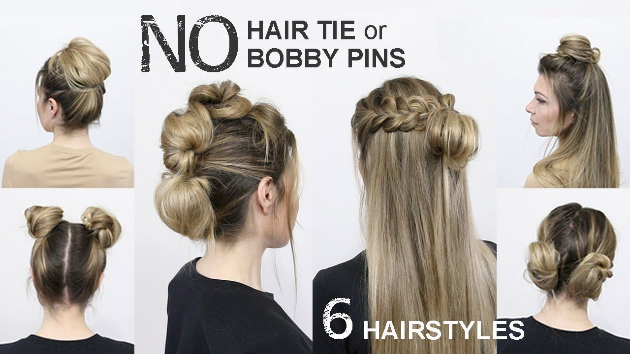 How To Messy Bun With No Hair Ties And No Bobby Pins Easy Easy Hairstyles For Long Hair Easy Hairstyles Hair Styles