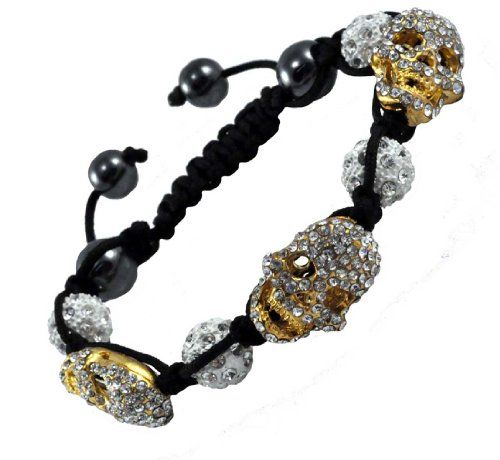 Fashion Pave Shamballa Ball Handmade Gold Tone Skull Bracelet ** You can find more details by visiting the image link. Note: It's an affiliate link to Amazon.