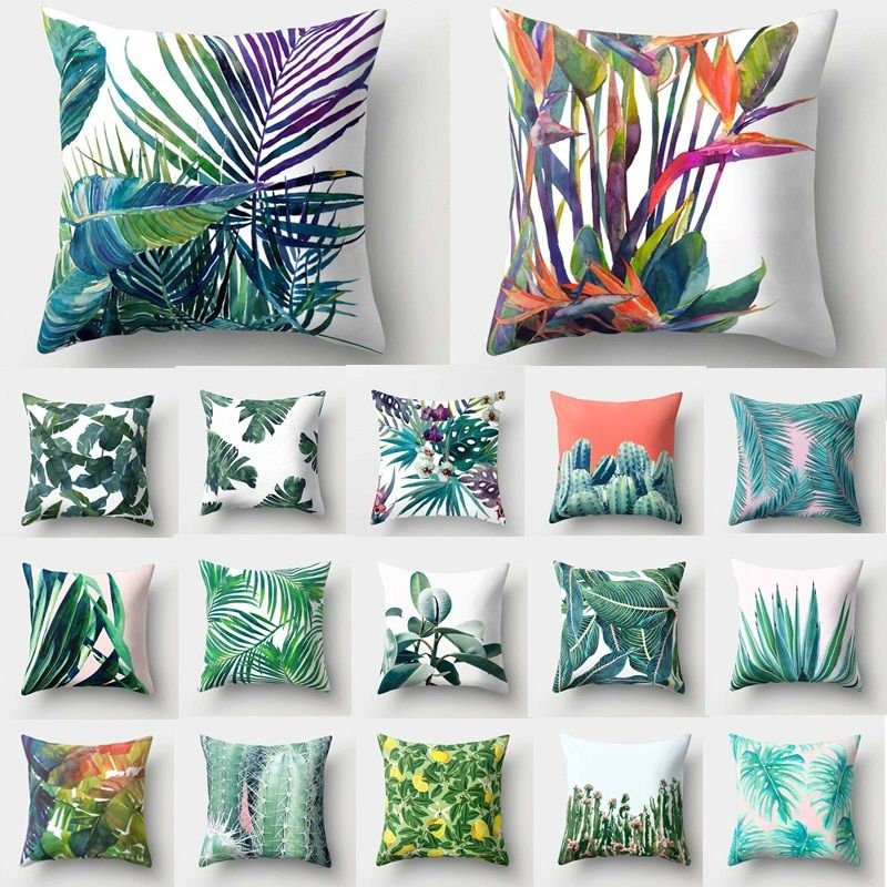 Tropical Leaves Printed Throw Pillow Case Cushion Cover Sofa Bedroom Decor