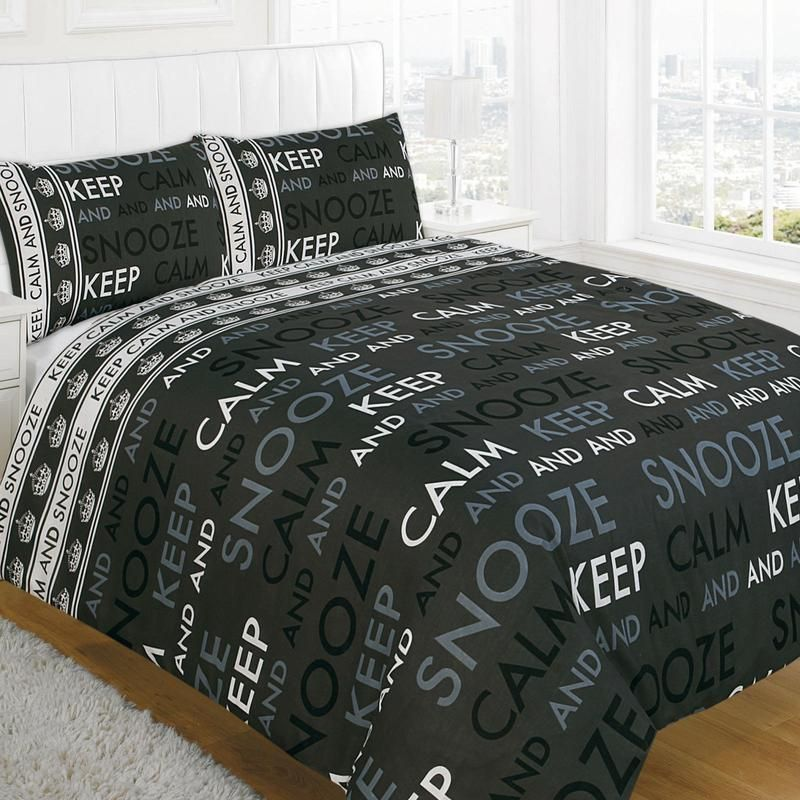 Keep Calm Printed Luxury Poly Cotton Duvet Cover With Pillowcases Bedding Set
