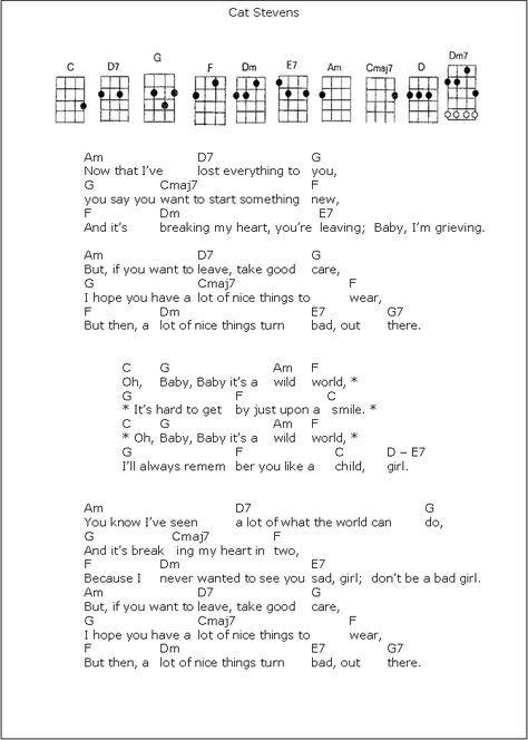 Cat Stevens Wild World Sheet Music Pinterest Ukulele Guitar