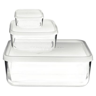 Bormioli Rocco Frigoverre 3pc Compact Glass Food Storage Container