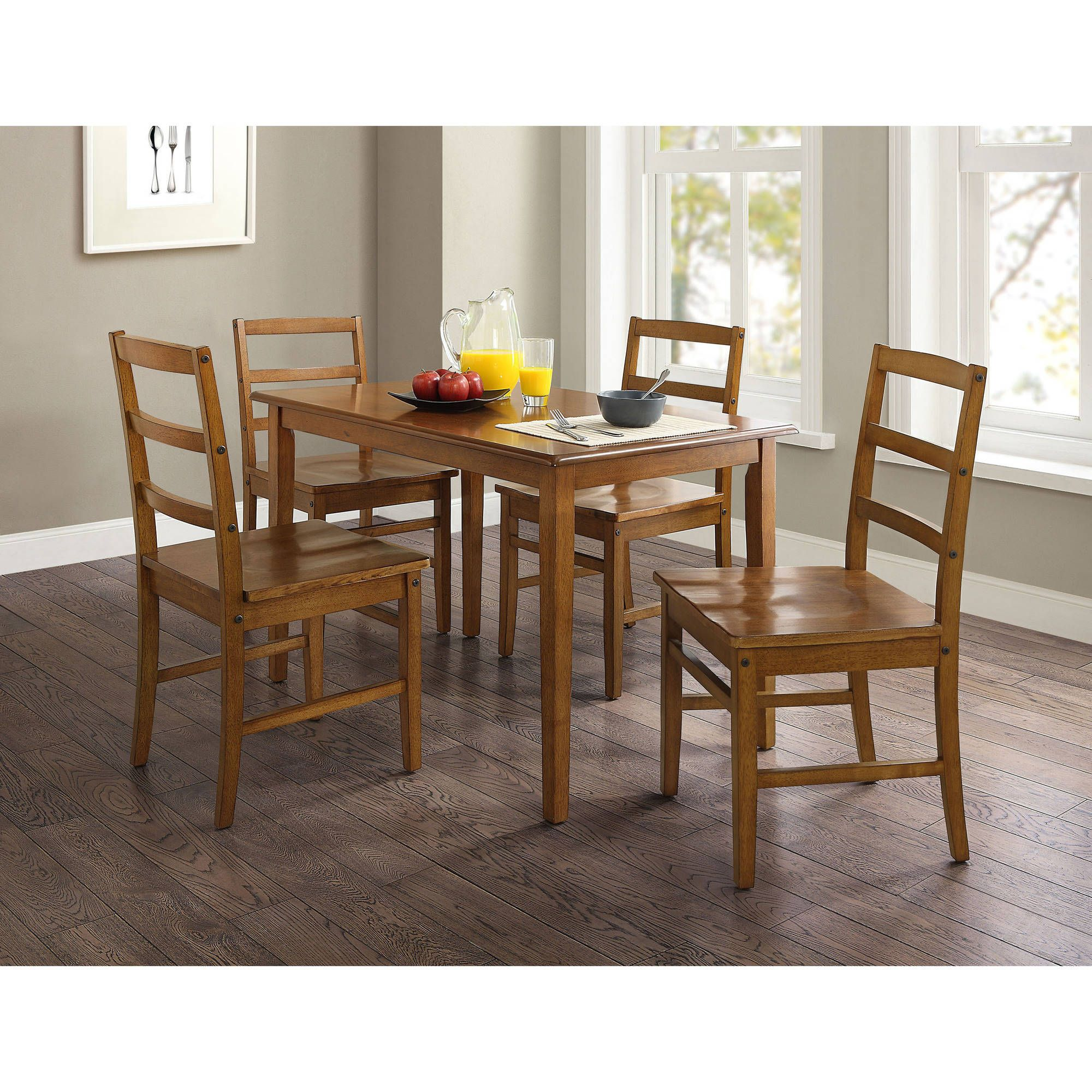 Mainstays 5-Piece Dining Set, Walnut Finish and Solid Wood Seats ...