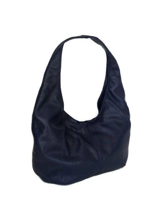 2e8db700c028 Indigo blue hobo purse genuine leather bag medium fashion classic ...