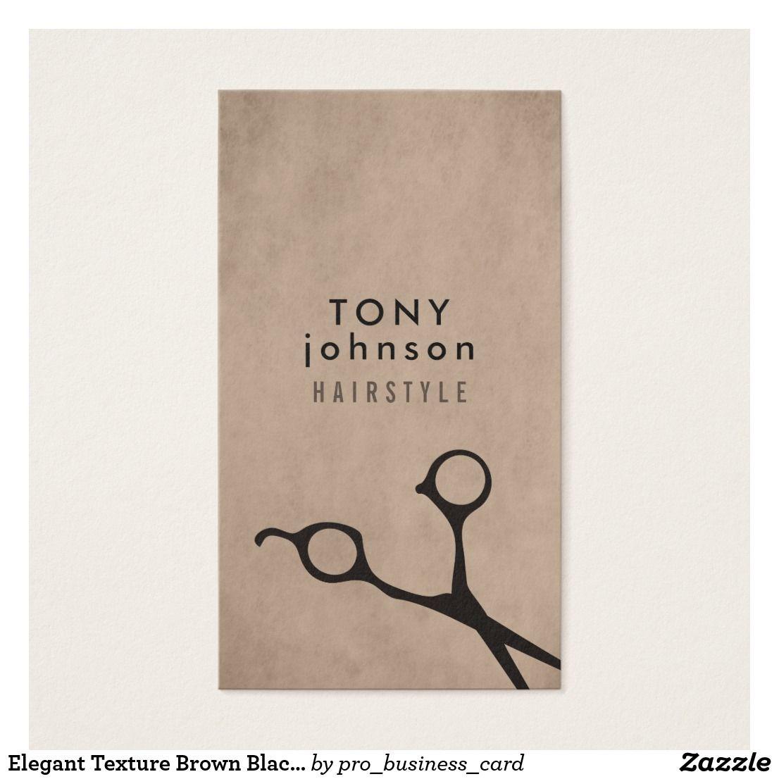 Elegant Texture Brown Black Scissors Hair Stylist   Business Cards ...