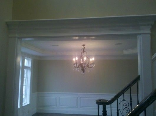 Foyer Chandelier Window : Home foyer with beadboard wainscoting trim