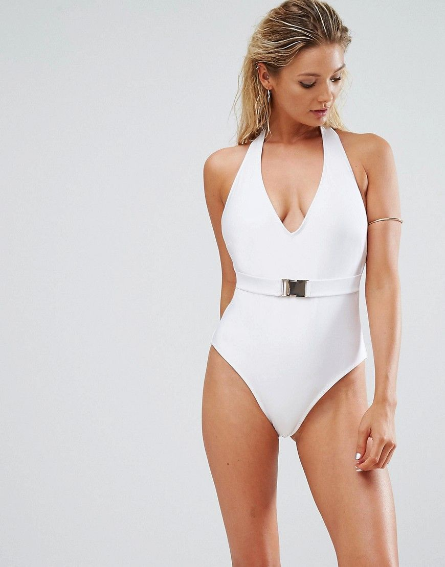 832cb07e6f9 ASOS FULLER BUST Exclusive Gold Buckle Belted Swimsuit DD-G - White