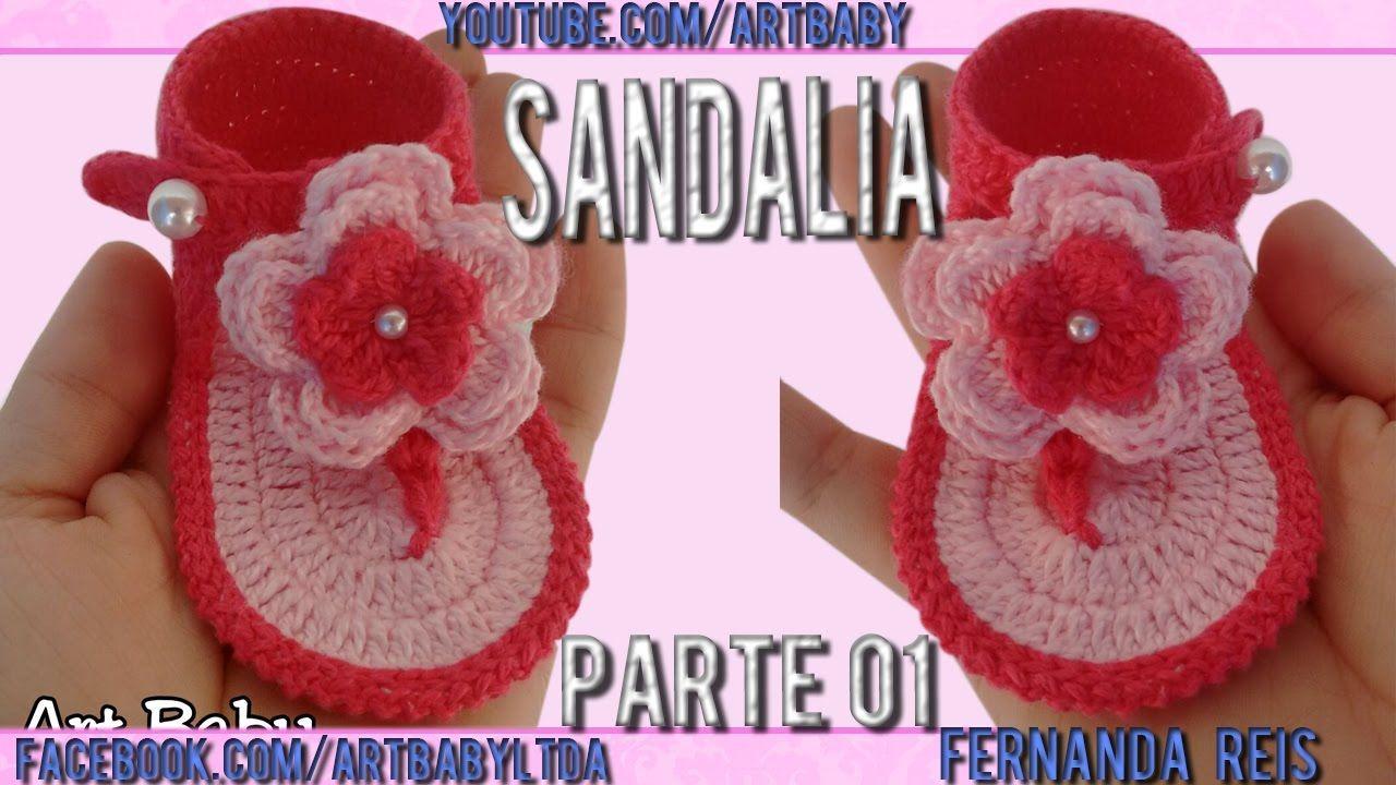 Sandalia de Croche Parte 1 - Professora Fernanda Reis   sandalias y ...