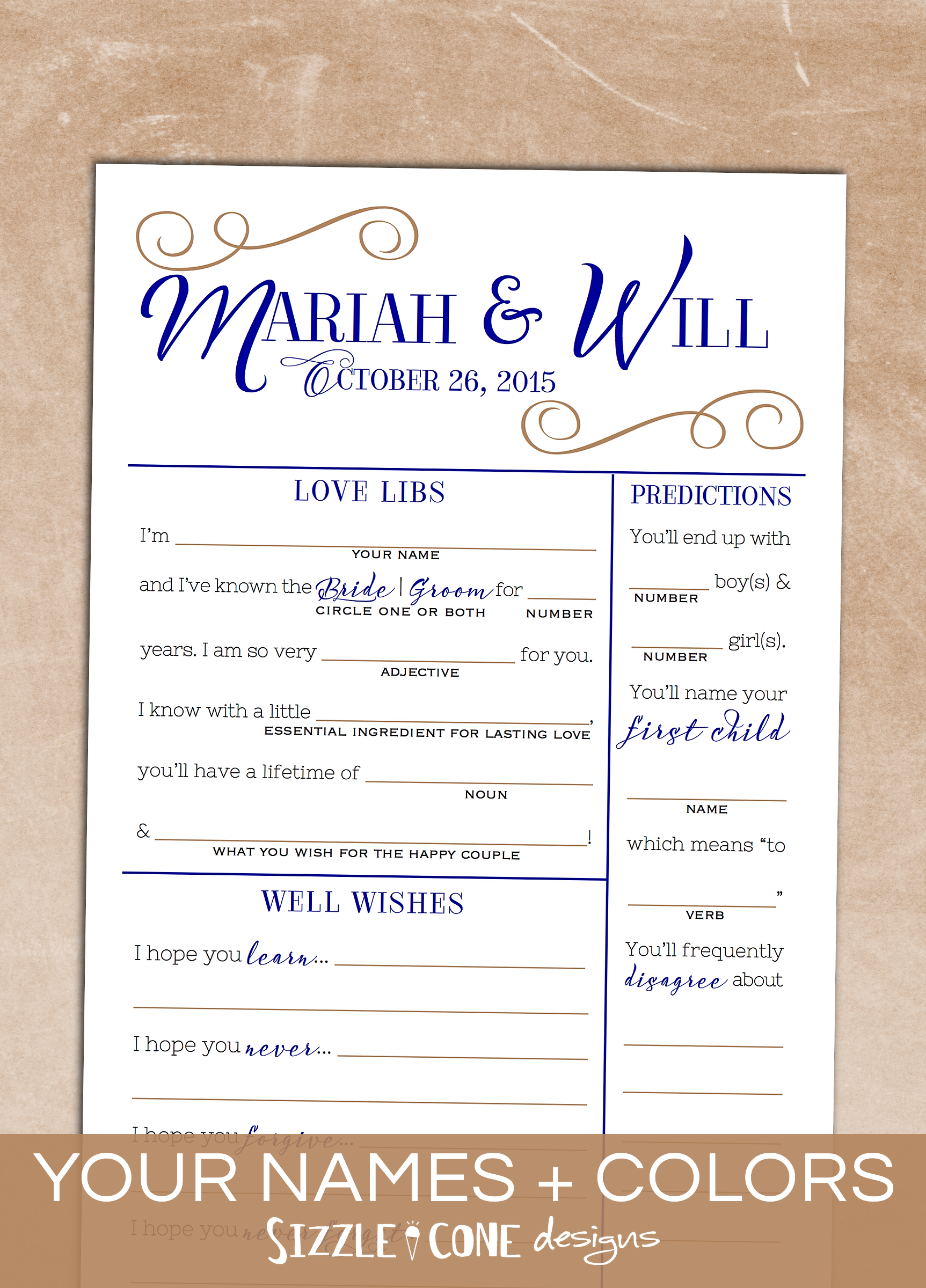 wedding mad lib guest book alternative [printable or printed 216