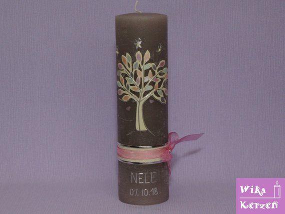 Taufkerze Kommunionkerze M/ädchen Junge mit Name und Datum 25x8cm mm Taufe Kerze Kreuz-Kreise-14 Rosa Lila Rot Silber