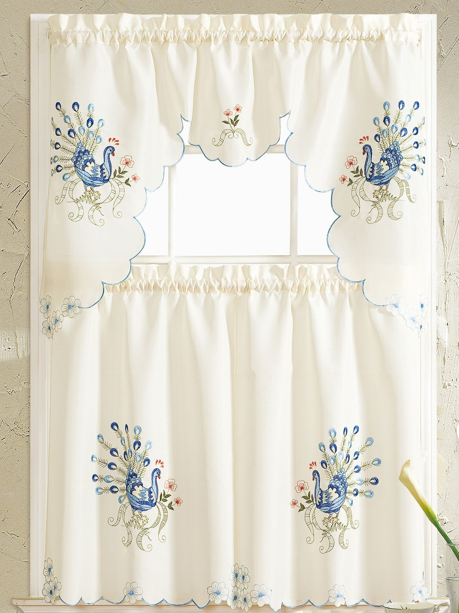 Peacock Embroidered Kitchen Curtain