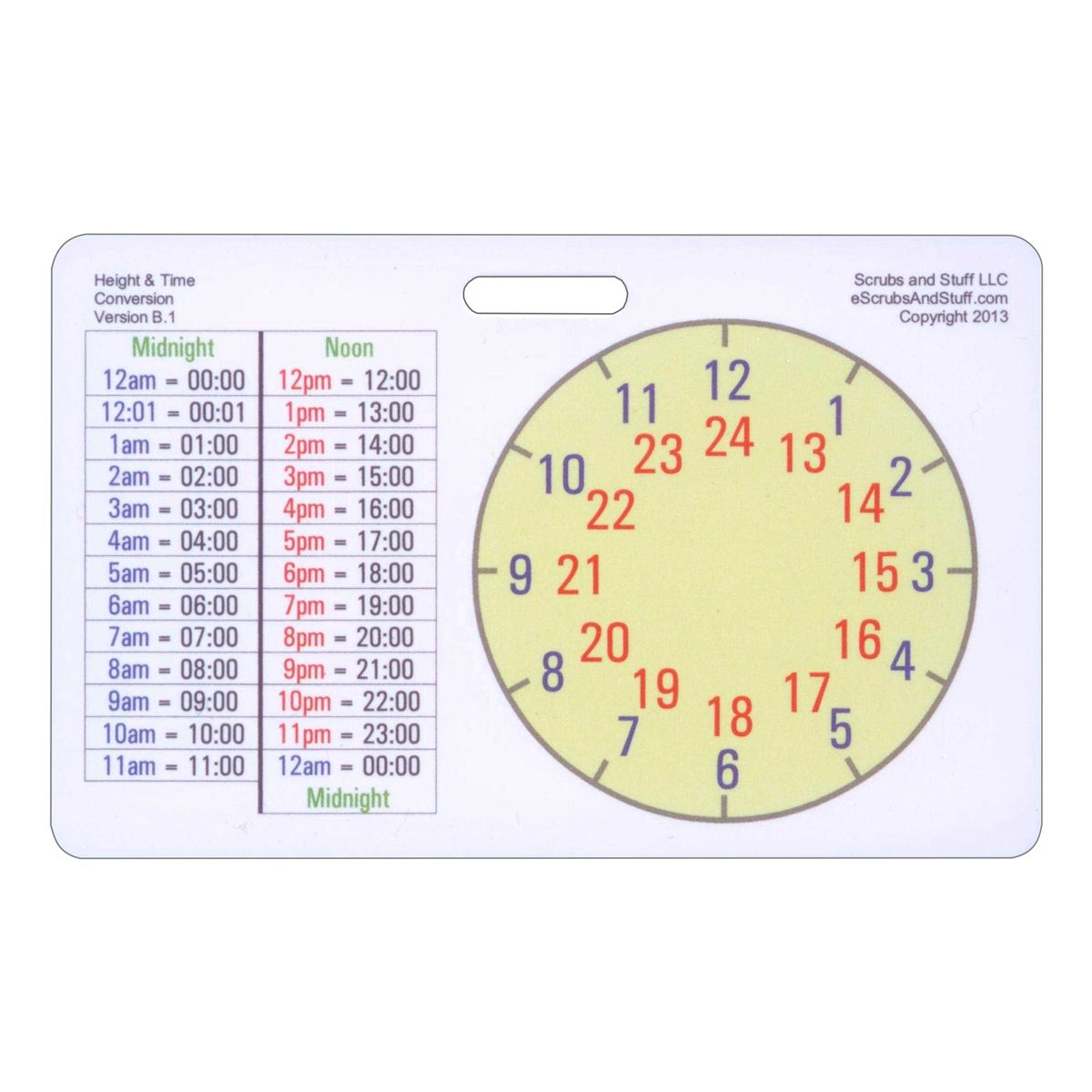 height and time conversion horizontal badge card helpful medical