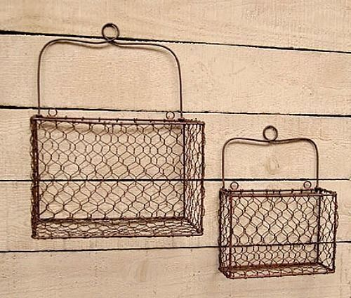 Primitive Country Decor Set Of 2 Rustic Wire Wall Baskets Storage Organizer  New #PrimitiveCountryDecor #