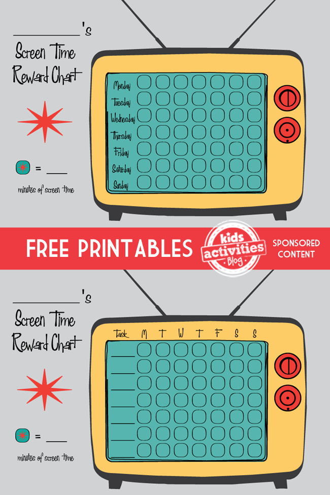Free Printable Screen Time Reward Charts  Printable Reward Charts