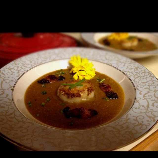 Valentine's Day 2012 1st Course: Roasted Corn Soup with Pan Seared Scallop and Lardons