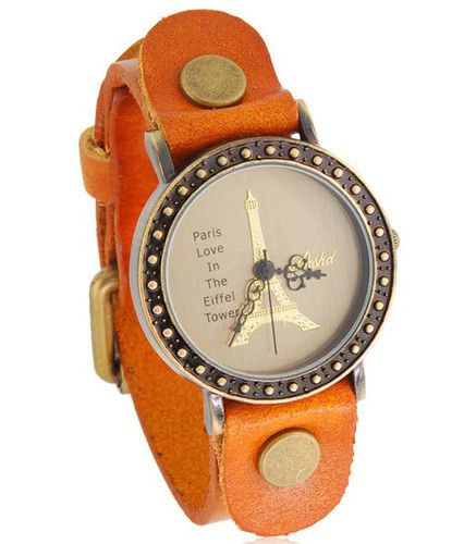Handmade Vintage Eiffel Tower Pattern Analog Watches Leather