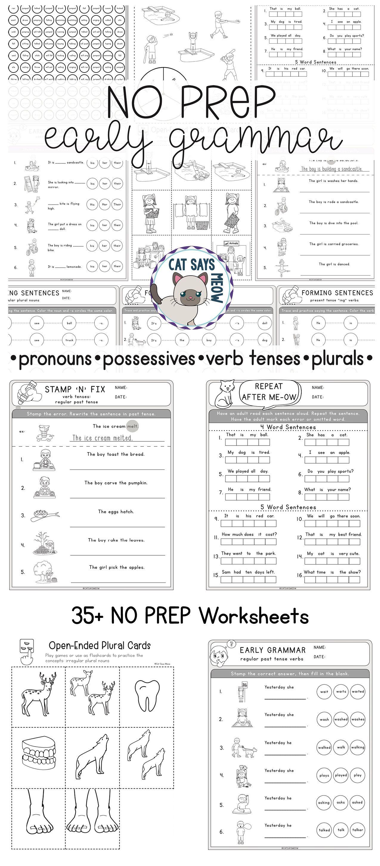 NO PREP Early Grammar (plurals, pronouns, verb tenses